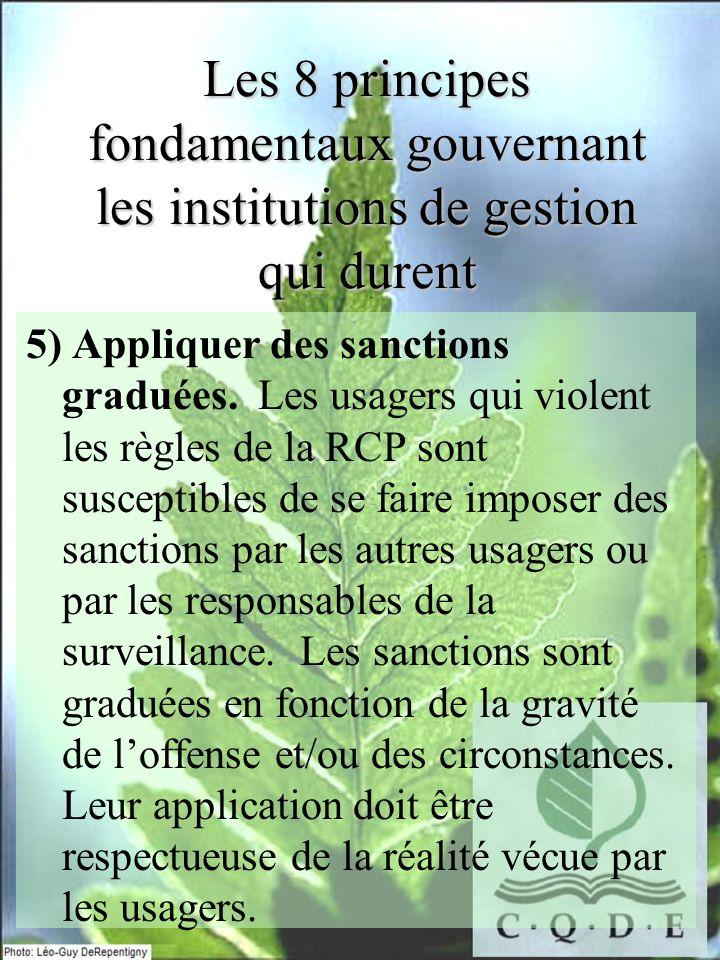 Les 8 principes fondamentaux gouvernant les institutions de gestion qui durent 5) Appliquer des sanctions graduées. Les usagers qui violent les règles