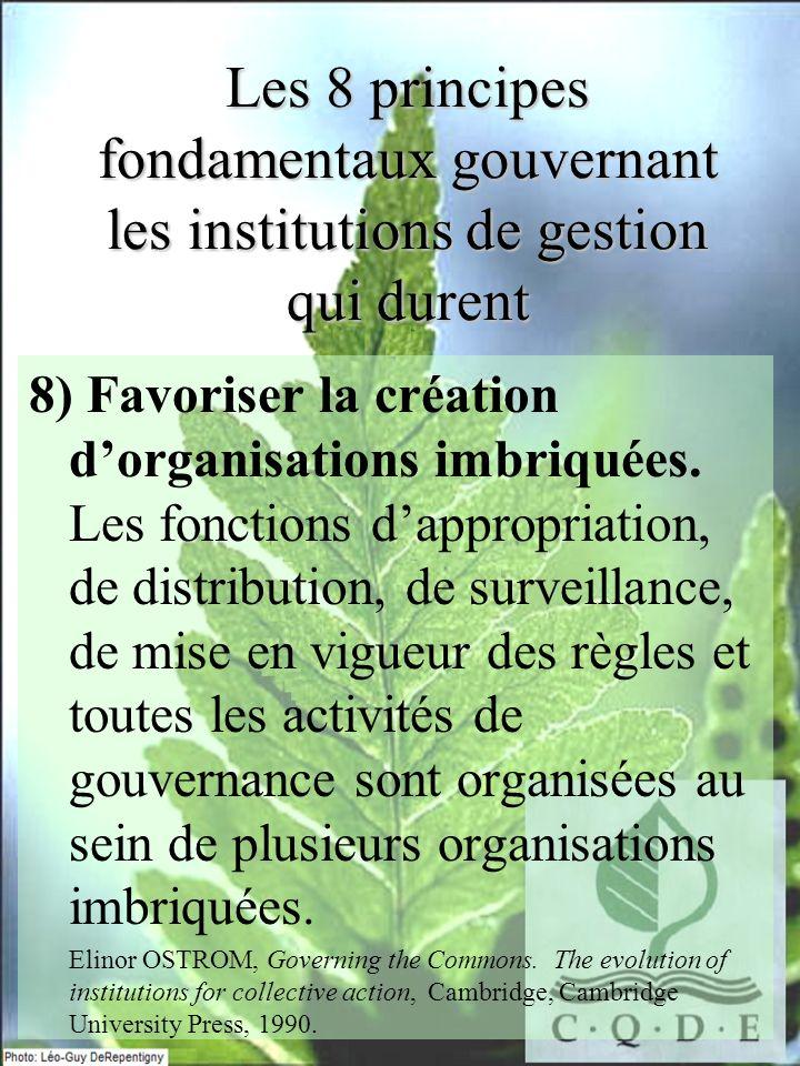 Les 8 principes fondamentaux gouvernant les institutions de gestion qui durent 8) Favoriser la création dorganisations imbriquées. Les fonctions dappr