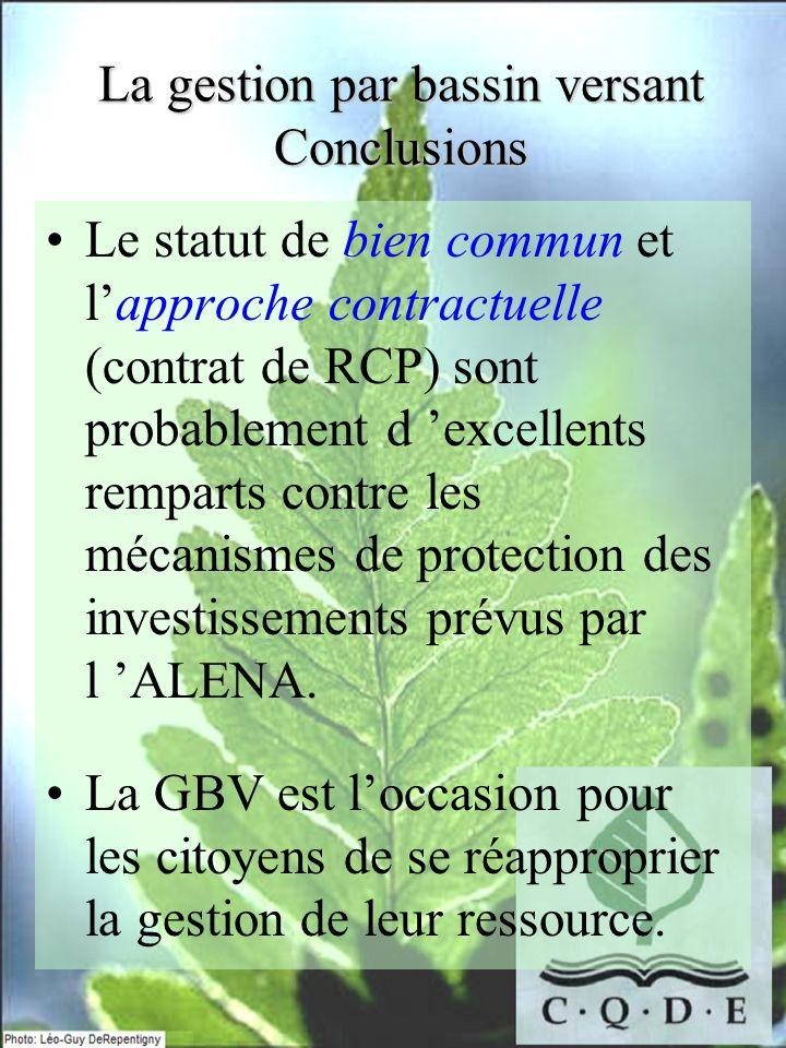 Le statut de bien commun et lapproche contractuelle (contrat de RCP) sont probablement d excellents remparts contre les mécanismes de protection des i