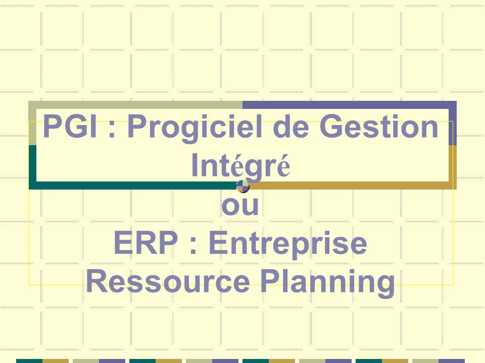 PGI : Progiciel de Gestion Int é gr é ou ERP : Entreprise Ressource Planning
