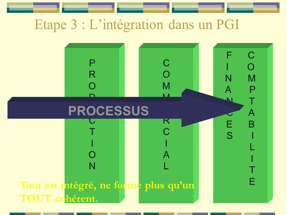 Etape 3 : Lintégration dans un PGI COMMERCIALCOMMERCIAL F C I O N M A P N T C A E B S I L I T E PRODUCTIONPRODUCTION PROCESSUS Tout est intégré, ne fo