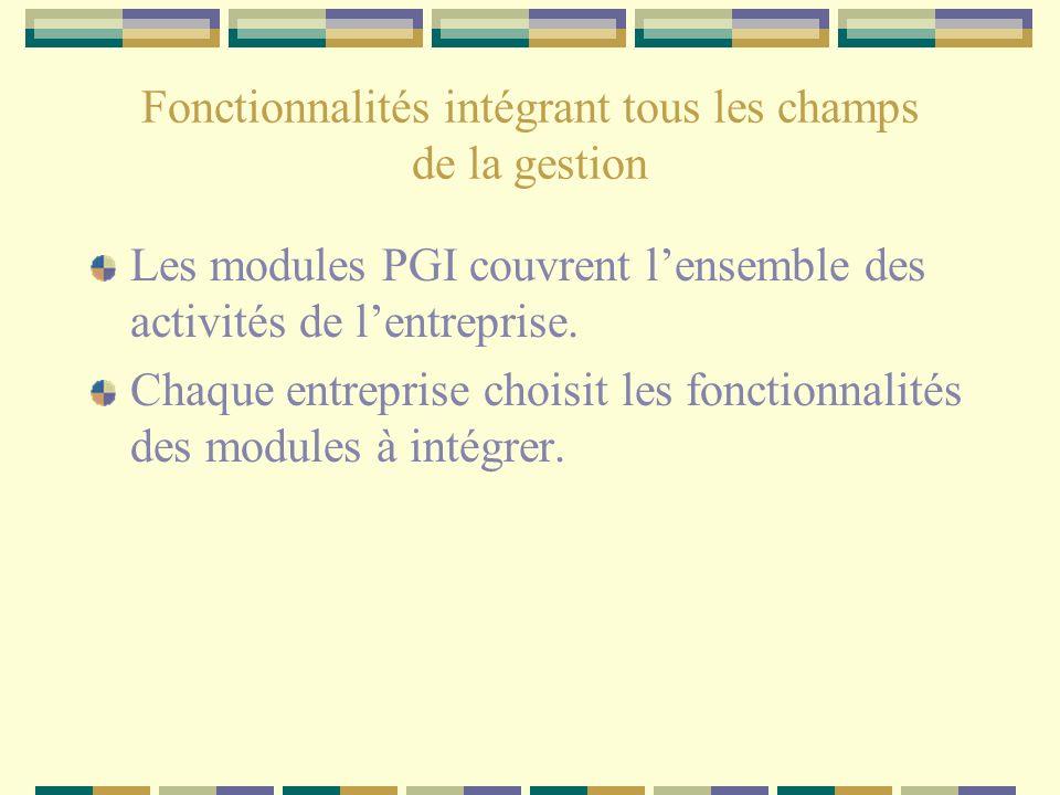 Fonctionnalités intégrant tous les champs de la gestion Les modules PGI couvrent lensemble des activités de lentreprise. Chaque entreprise choisit les
