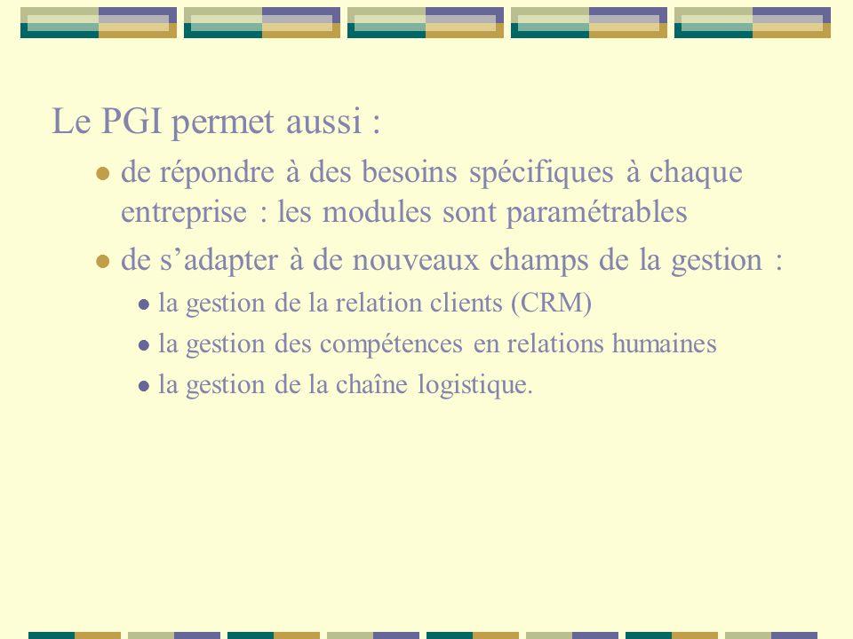 Le PGI permet aussi : de répondre à des besoins spécifiques à chaque entreprise : les modules sont paramétrables de sadapter à de nouveaux champs de l