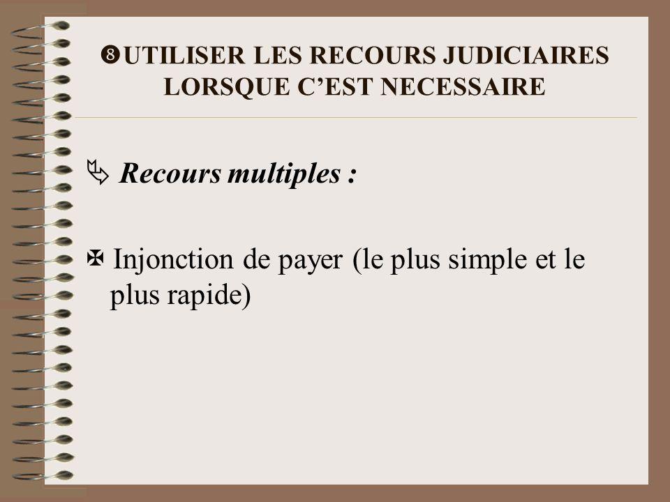 UTILISER LES RECOURS JUDICIAIRES LORSQUE CEST NECESSAIRE Recours multiples : Injonction de payer (le plus simple et le plus rapide)