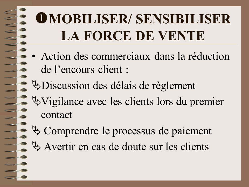MOBILISER/ SENSIBILISER LA FORCE DE VENTE Action des commerciaux dans la réduction de lencours client : Discussion des délais de règlement Vigilance a