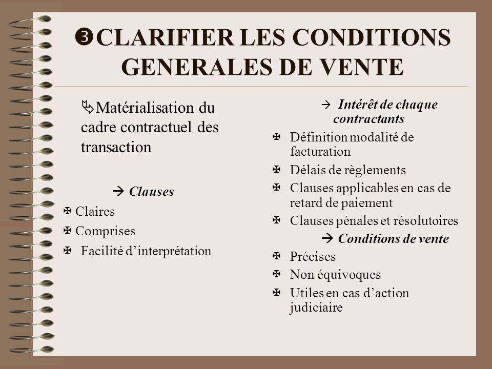 CLARIFIER LES CONDITIONS GENERALES DE VENTE Matérialisation du cadre contractuel des transaction Clauses Claires Comprises Facilité dinterprétation In