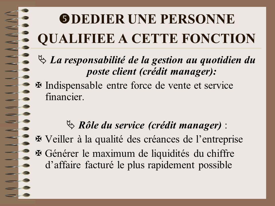 DEDIER UNE PERSONNE QUALIFIEE A CETTE FONCTION La responsabilité de la gestion au quotidien du poste client (crédit manager): Indispensable entre forc