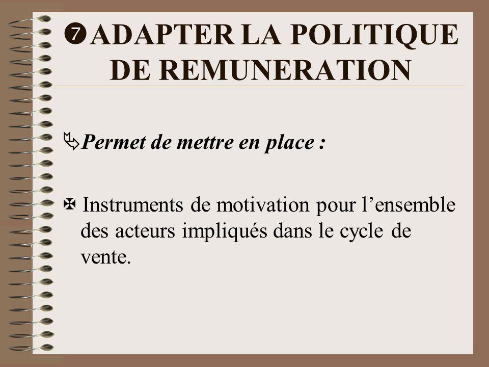 ADAPTER LA POLITIQUE DE REMUNERATION Permet de mettre en place : Instruments de motivation pour lensemble des acteurs impliqués dans le cycle de vente