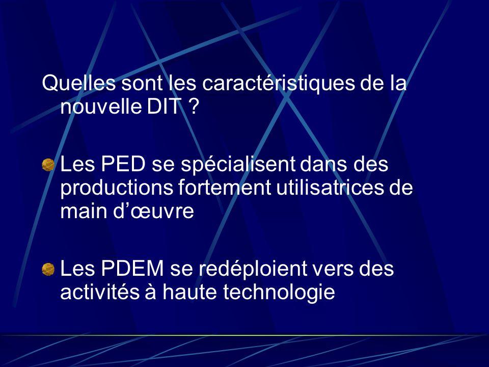 Quelles sont les caractéristiques de la nouvelle DIT ? Les PED se spécialisent dans des productions fortement utilisatrices de main dœuvre Les PDEM se