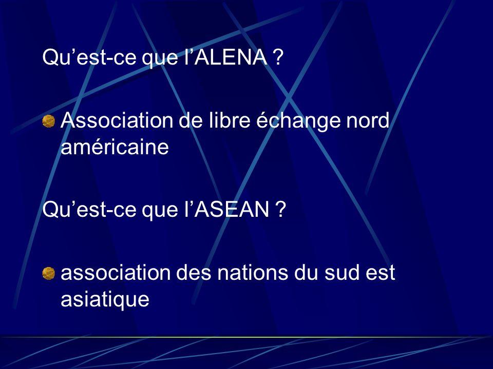 Quest-ce que lALENA ? Association de libre échange nord américaine Quest-ce que lASEAN ? association des nations du sud est asiatique