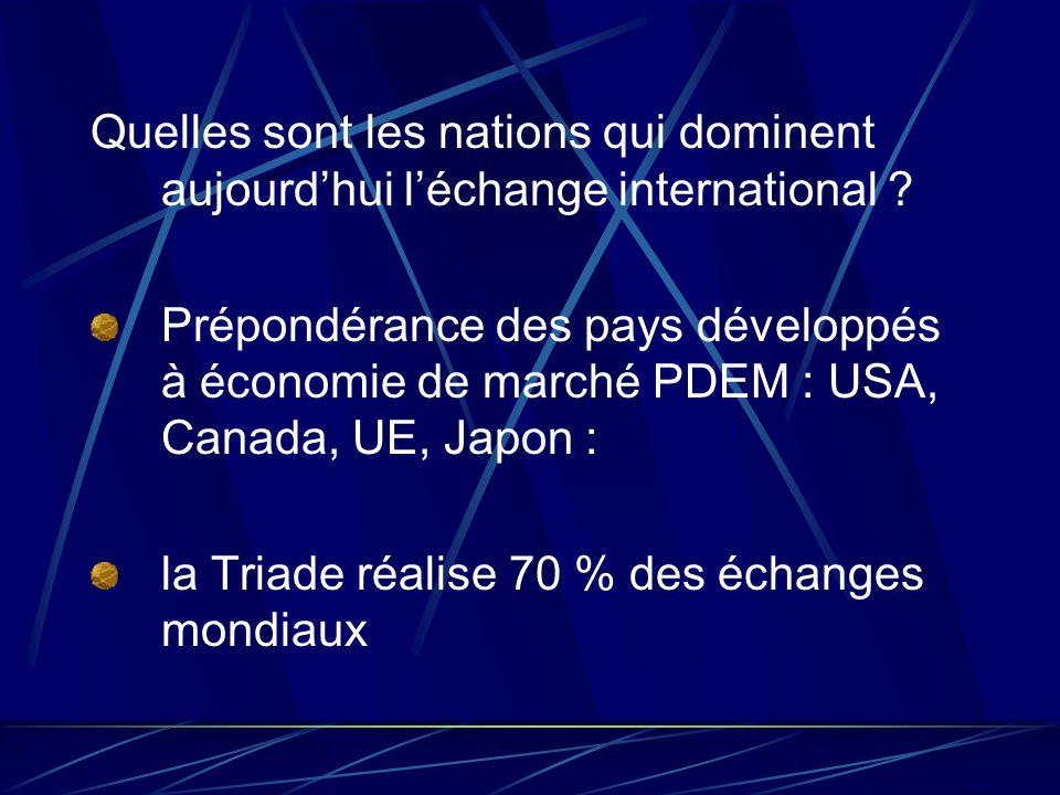 Quelles sont les nations qui dominent aujourdhui léchange international ? Prépondérance des pays développés à économie de marché PDEM : USA, Canada, U