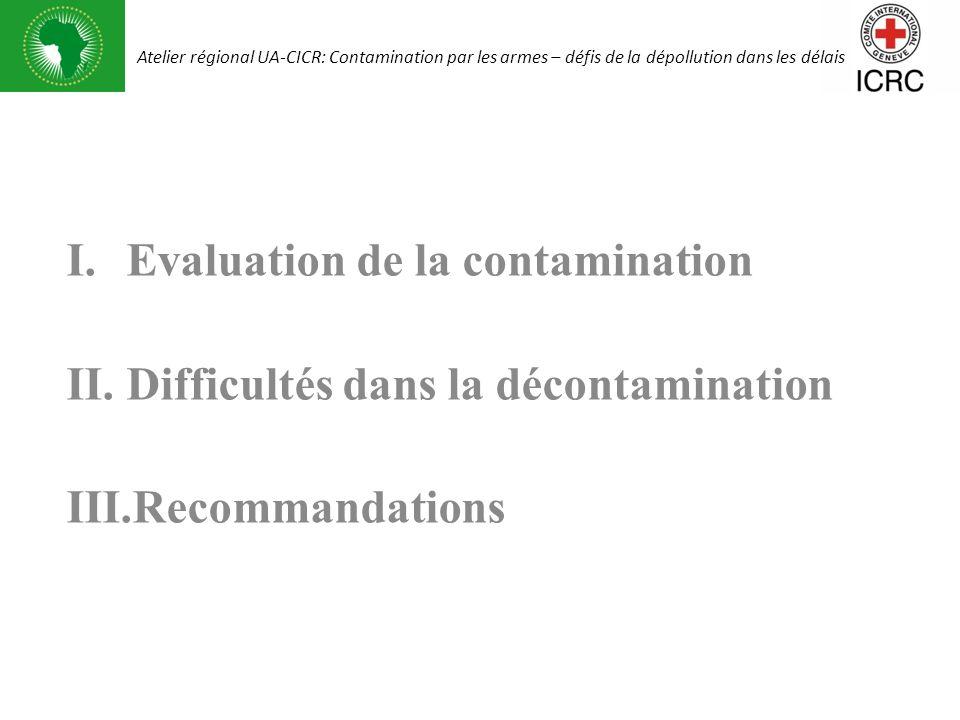 I.Evaluation de la contamination II.Difficultés dans la décontamination III.Recommandations Atelier régional UA-CICR: Contamination par les armes – dé