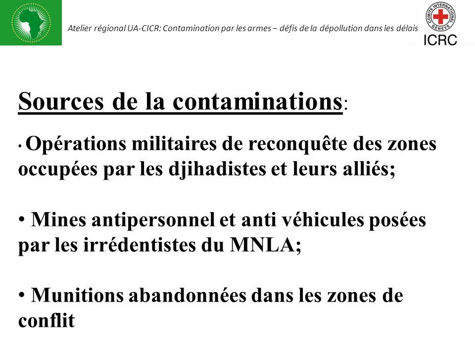 Sources de la contaminations : Opérations militaires de reconquête des zones occupées par les djihadistes et leurs alliés; Mines antipersonnel et anti