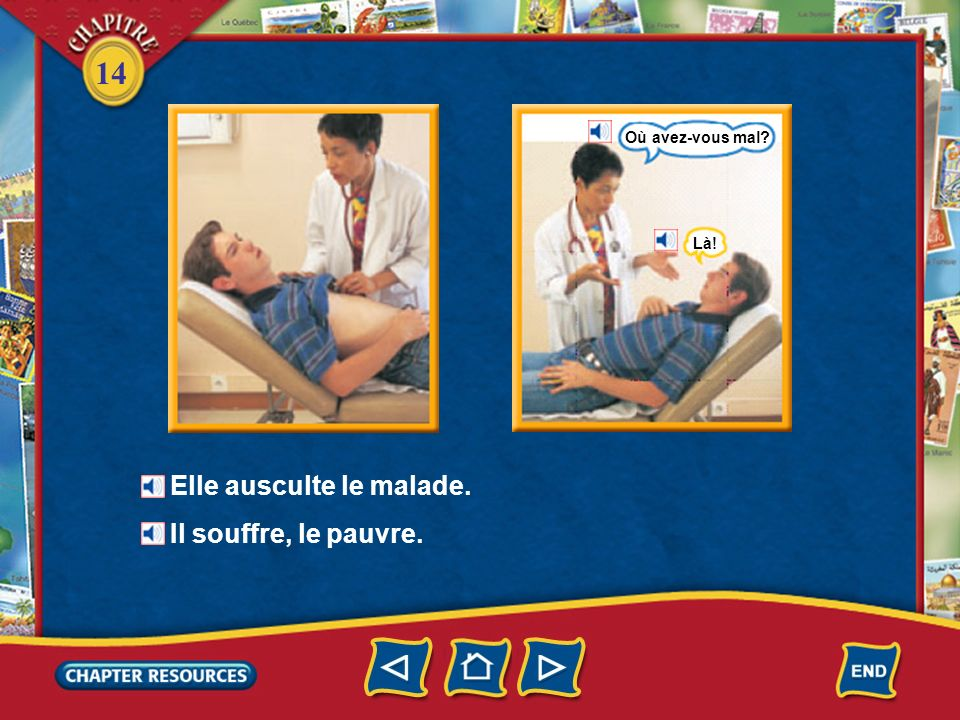 14 Chez le médecin Le médecin examine le malade. Le malade ouvre la bouche. Le médecin examine la gorge du malade. le médecin un malade