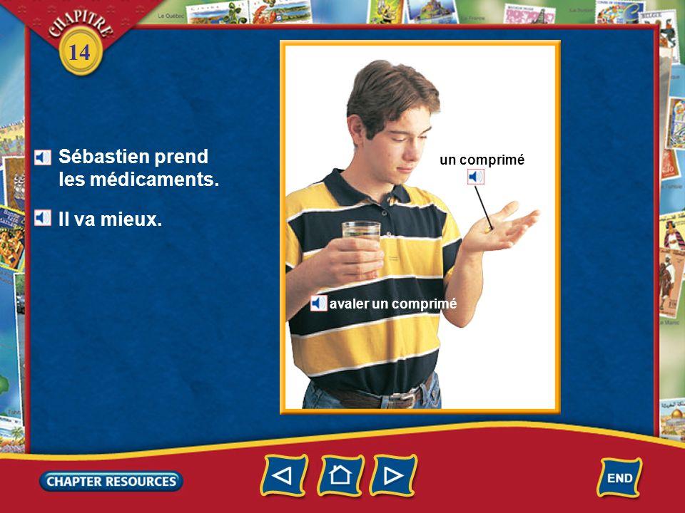 14 À la pharmacie Quest-ce que la pharmacienne donne à Sébastien? Elle lui donne des médicaments. la pharmacienne le pharmacien