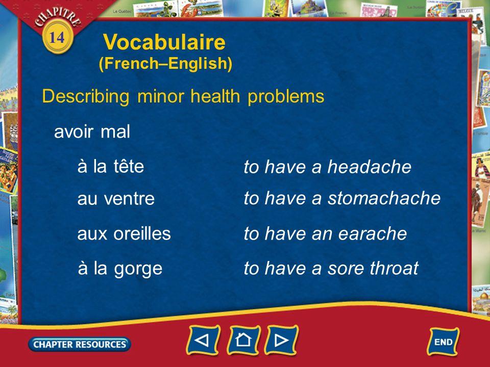 14 to cough Describing minor health problems tousser éternuer to sneeze être enrhumé(e) to have a cold Vocabulaire (French–English)