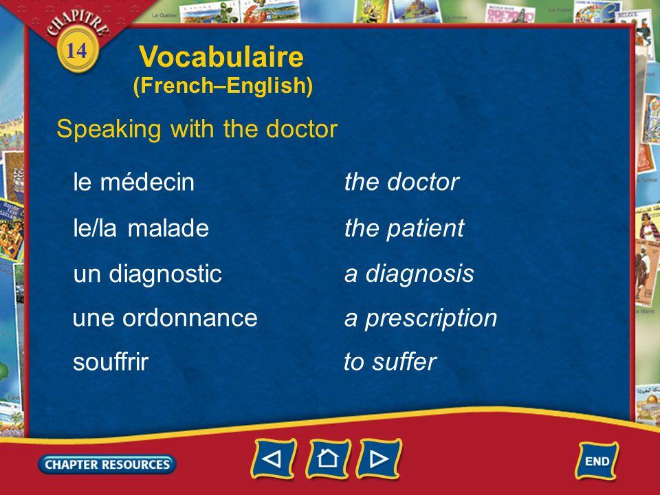 14 viral Describing minor health problems viral(e) bactérien(ne) bacterial malade sick allergique allergic Vocabulaire (French–English)