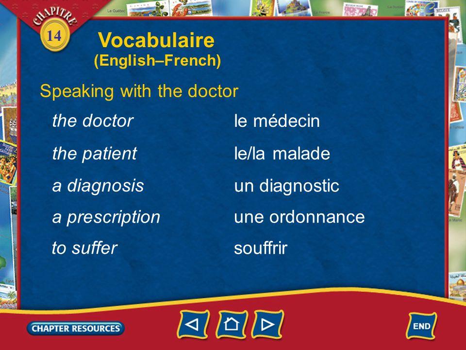 14 viral Describing minor health problems viral(e) bactérien(ne) bacterial malade sick allergique allergic Vocabulaire (English–French)