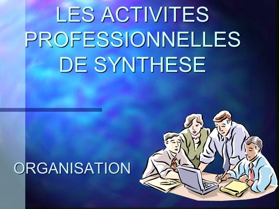 LES ACTIVITES PROFESSIONNELLES DE SYNTHESE ORGANISATION
