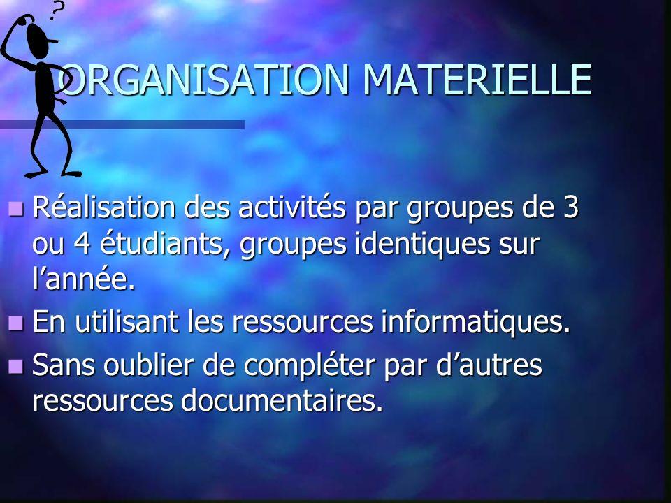 ORGANISATION MATERIELLE Réalisation des activités par groupes de 3 ou 4 étudiants, groupes identiques sur lannée.