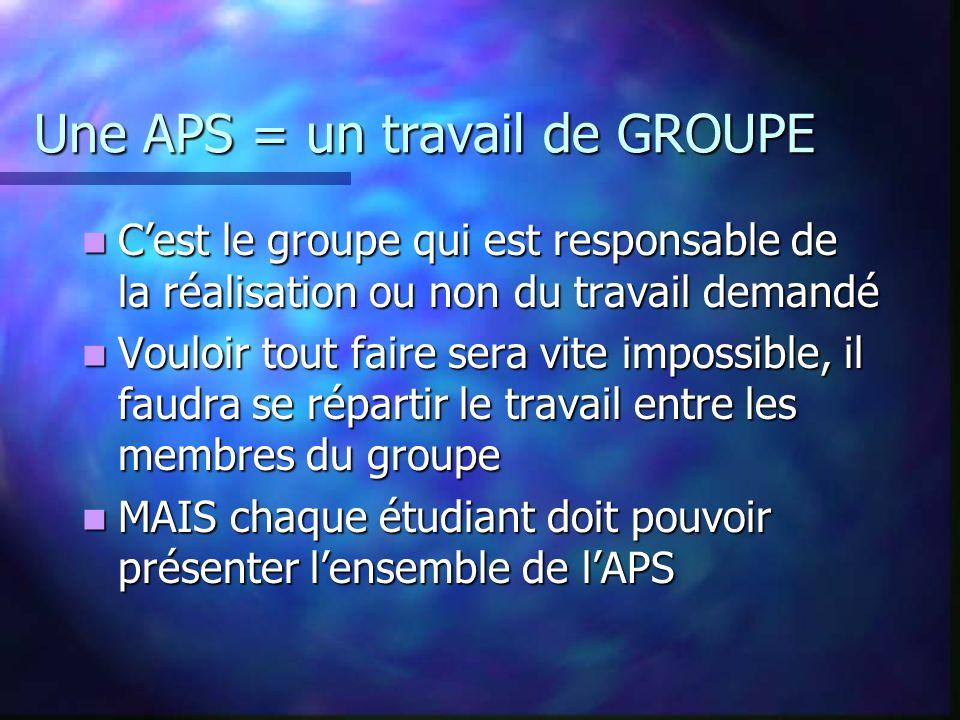 ORGANISATION MATERIELLE Réalisation des activités par groupes de 3 ou 4 étudiants, groupes identiques sur lannée. Réalisation des activités par groupe