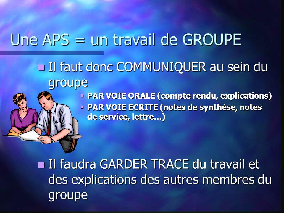 Une APS = un travail de GROUPE Cest le groupe qui est responsable de la réalisation ou non du travail demandé Cest le groupe qui est responsable de la