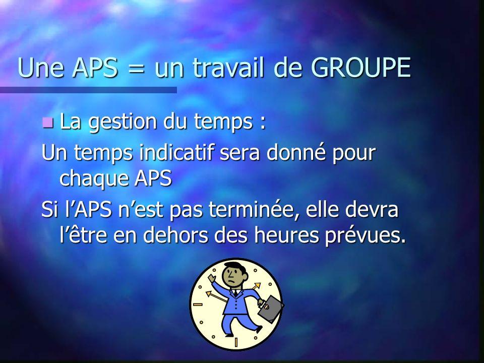 Une APS = un travail de GROUPE Il faut donc COMMUNIQUER au sein du groupe PAR VOIE ORALE (compte rendu, explications) PAR VOIE ECRITE (notes de synthè