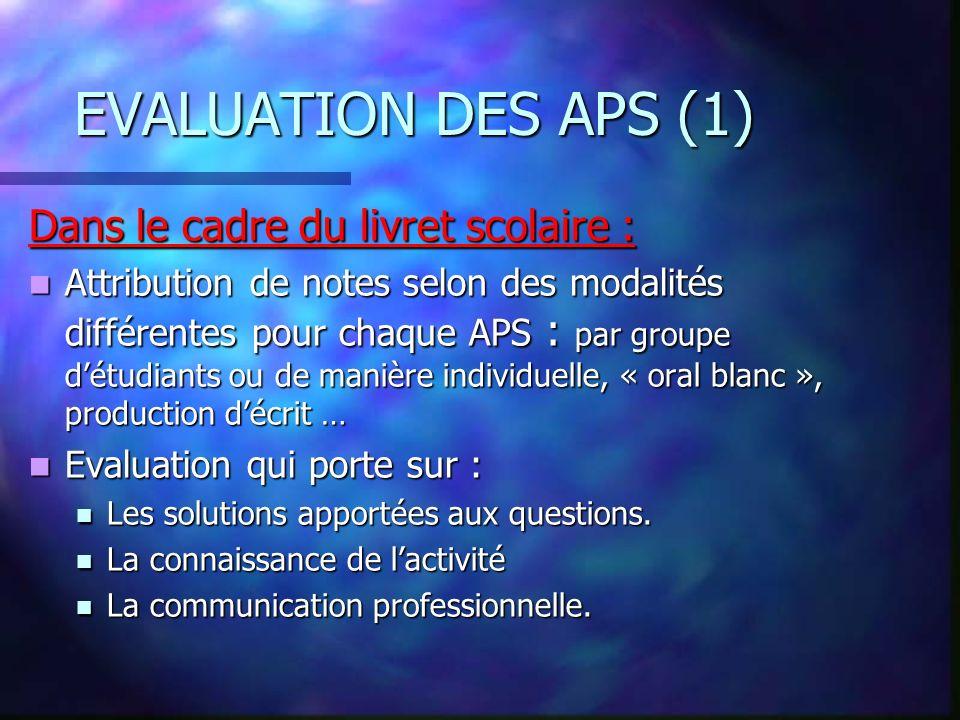 LES ACTIVITES PROFESSIONNELLES DE SYNTHESE EVALUATION