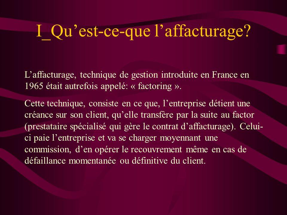 I_Quest-ce-que laffacturage? Laffacturage, technique de gestion introduite en France en 1965 était autrefois appelé: « factoring ». Cette technique, c