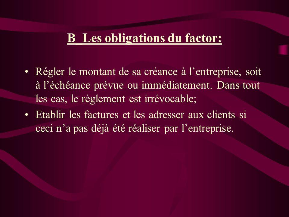 B_Les obligations du factor: Régler le montant de sa créance à lentreprise, soit à léchéance prévue ou immédiatement. Dans tout les cas, le règlement
