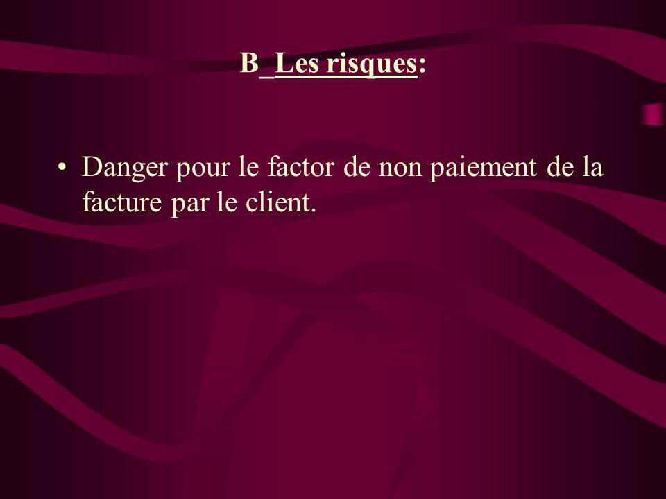 B_Les risques: Danger pour le factor de non paiement de la facture par le client.