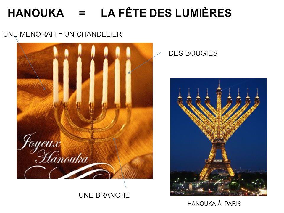 HANOUKA = LA FÊTE DES LUMIÈRES UNE MENORAH = UN CHANDELIER DES BOUGIES UNE BRANCHE HANOUKA À PARIS