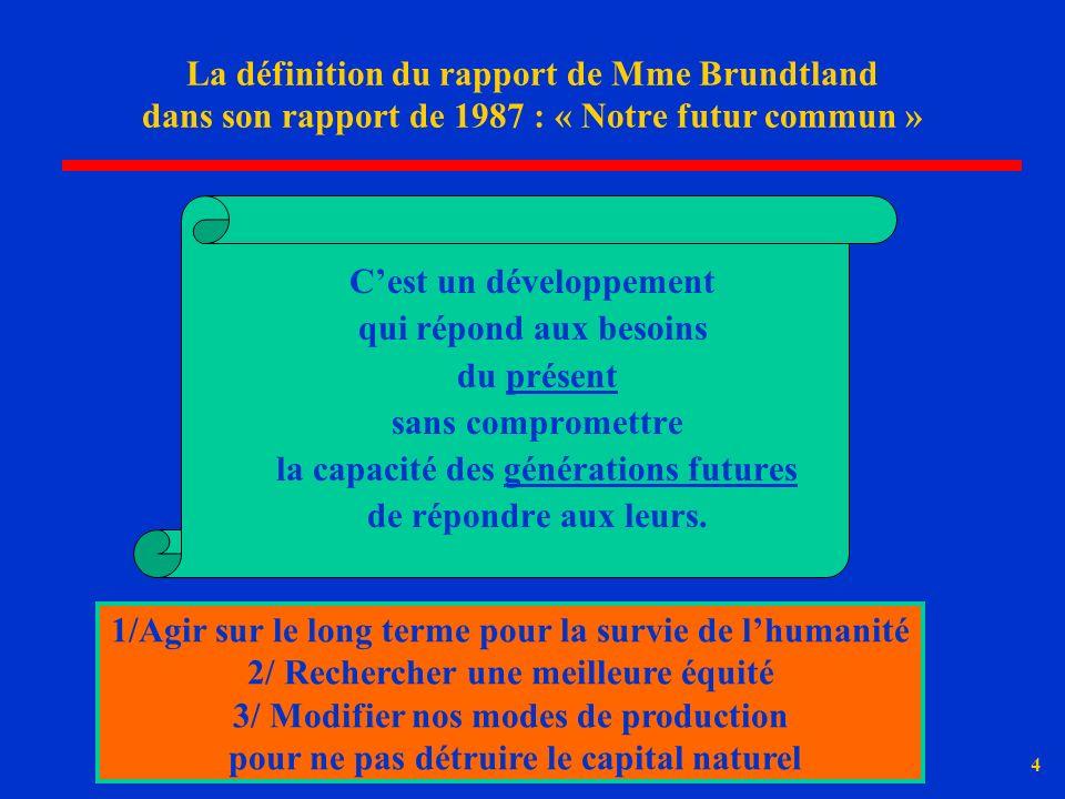 4 La définition du rapport de Mme Brundtland dans son rapport de 1987 : « Notre futur commun » Cest un développement qui répond aux besoins du présent