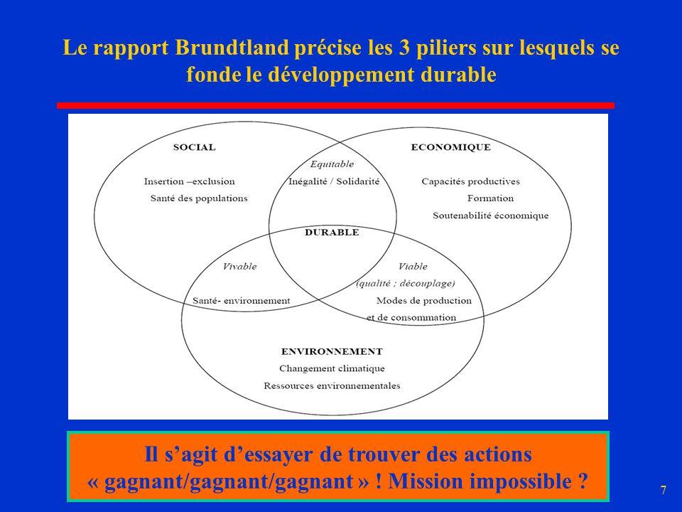 7 Le rapport Brundtland précise les 3 piliers sur lesquels se fonde le développement durable Il sagit dessayer de trouver des actions « gagnant/gagnan