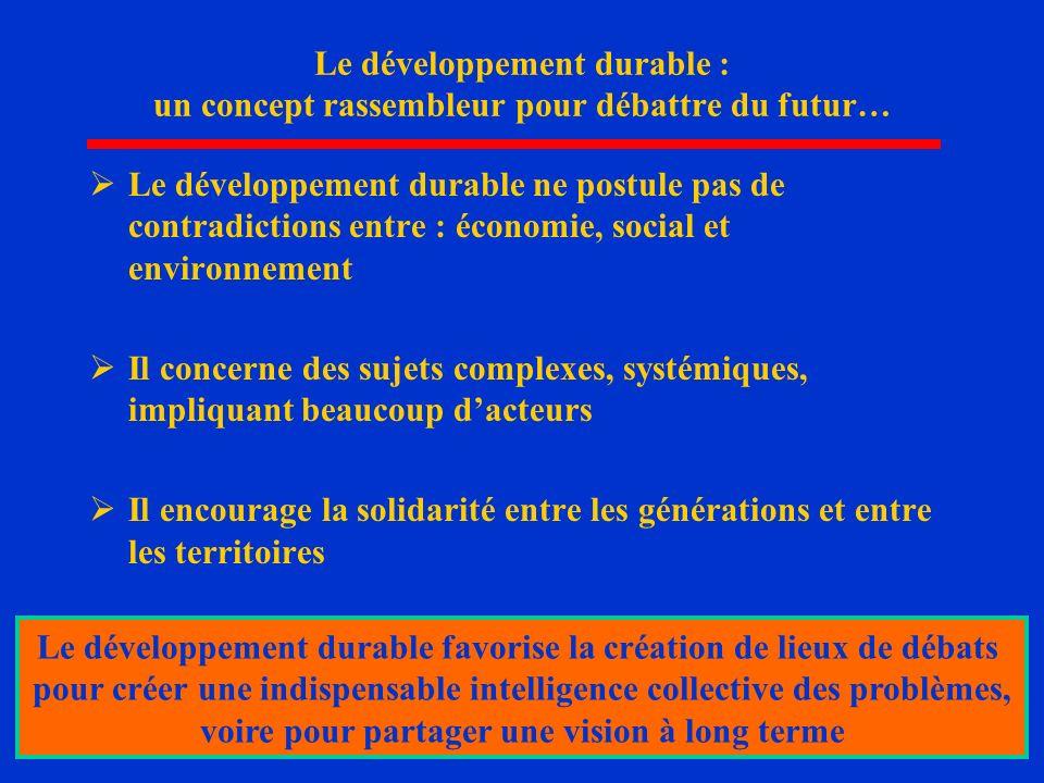 9 Le développement durable : un concept rassembleur pour débattre du futur… Le développement durable ne postule pas de contradictions entre : économie