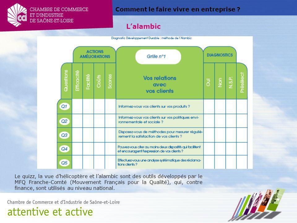 Comment le faire vivre en entreprise ? Lalambic Le quizz, la vue dhélicoptère et lalambic sont des outils développés par le MFQ Franche-Comté (Mouveme
