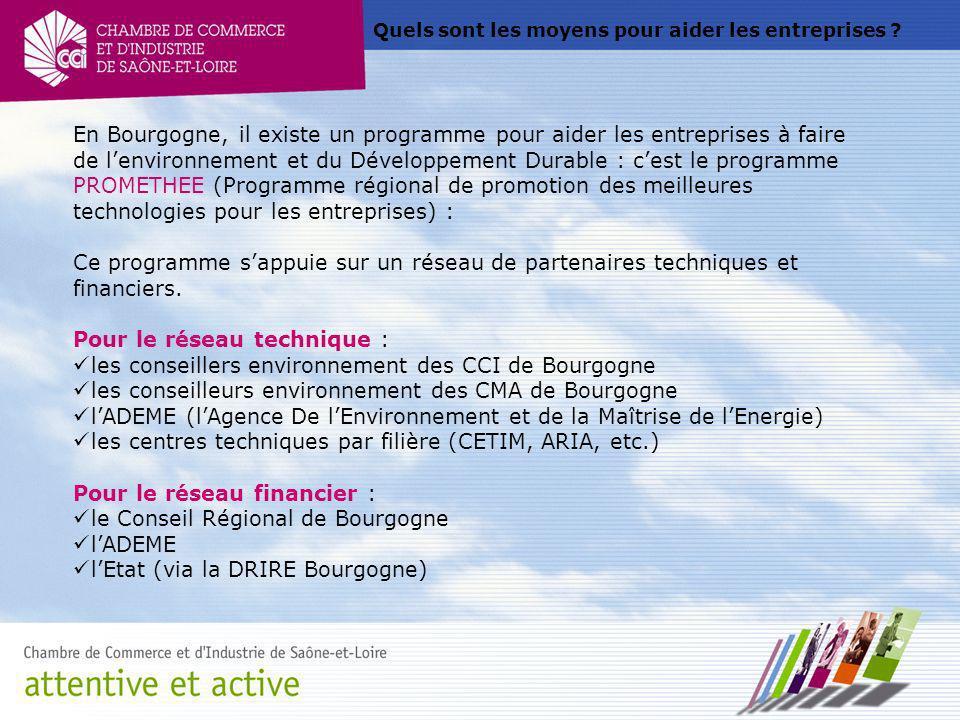 Quels sont les moyens pour aider les entreprises ? En Bourgogne, il existe un programme pour aider les entreprises à faire de lenvironnement et du Dév