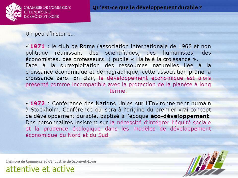 Quest-ce que le développement durable ? Un peu dhistoire… 1971 : le club de Rome (association internationale de 1968 et non politique réunissant des s