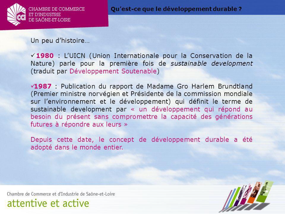 Quest-ce que le développement durable ? Un peu dhistoire… 1980 : LUICN (Union Internationale pour la Conservation de la Nature) parle pour la première