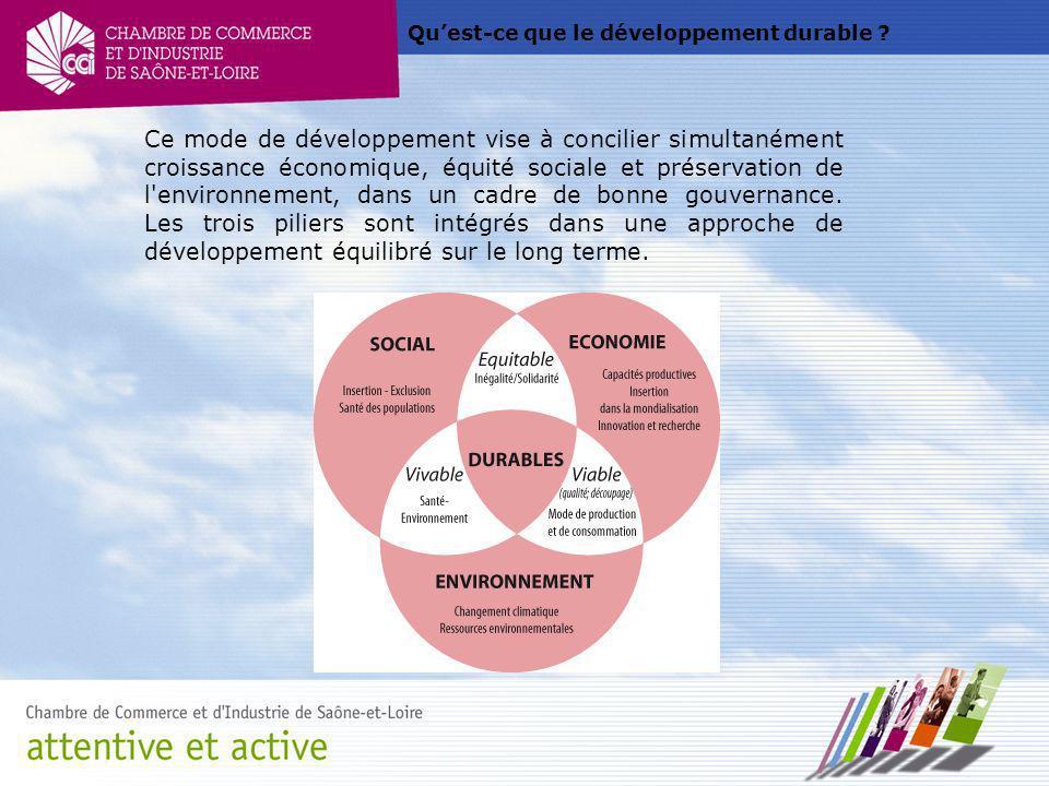 Quest-ce que le développement durable ? Ce mode de développement vise à concilier simultanément croissance économique, équité sociale et préservation