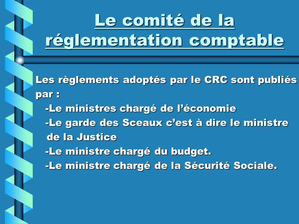 Le comité de la réglementation comptable Les règlements adoptés par le CRC sont publiés par : -Le ministres chargé de léconomie -Le ministres chargé d