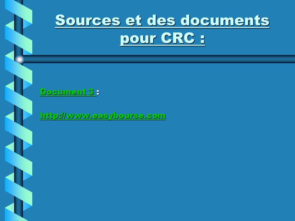 Sources et des documents pour CRC : Document 3 Document 3 : Document 3 http://www.easybourse.com