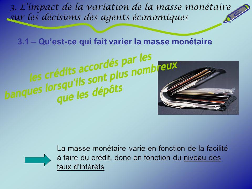 3. Limpact de la variation de la masse monétaire sur les décisions des agents économiques 3.1 – Quest-ce qui fait varier la masse monétaire La masse m