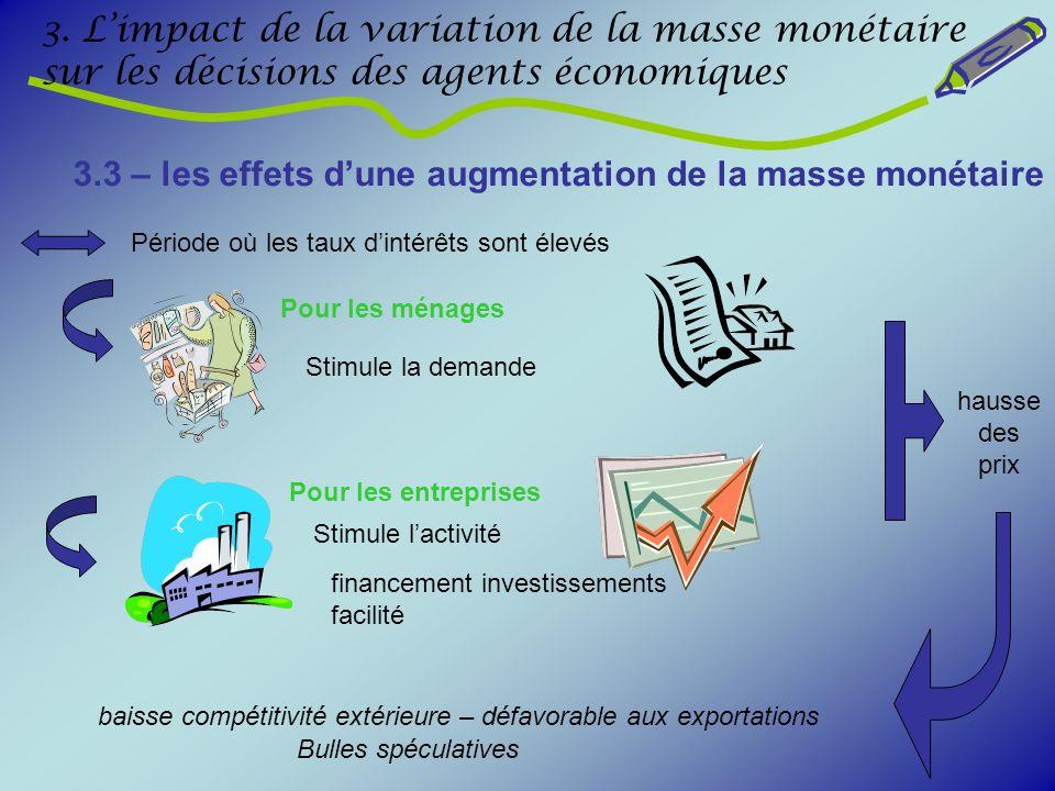 3. Limpact de la variation de la masse monétaire sur les décisions des agents économiques 3.3 – les effets dune augmentation de la masse monétaire Pér