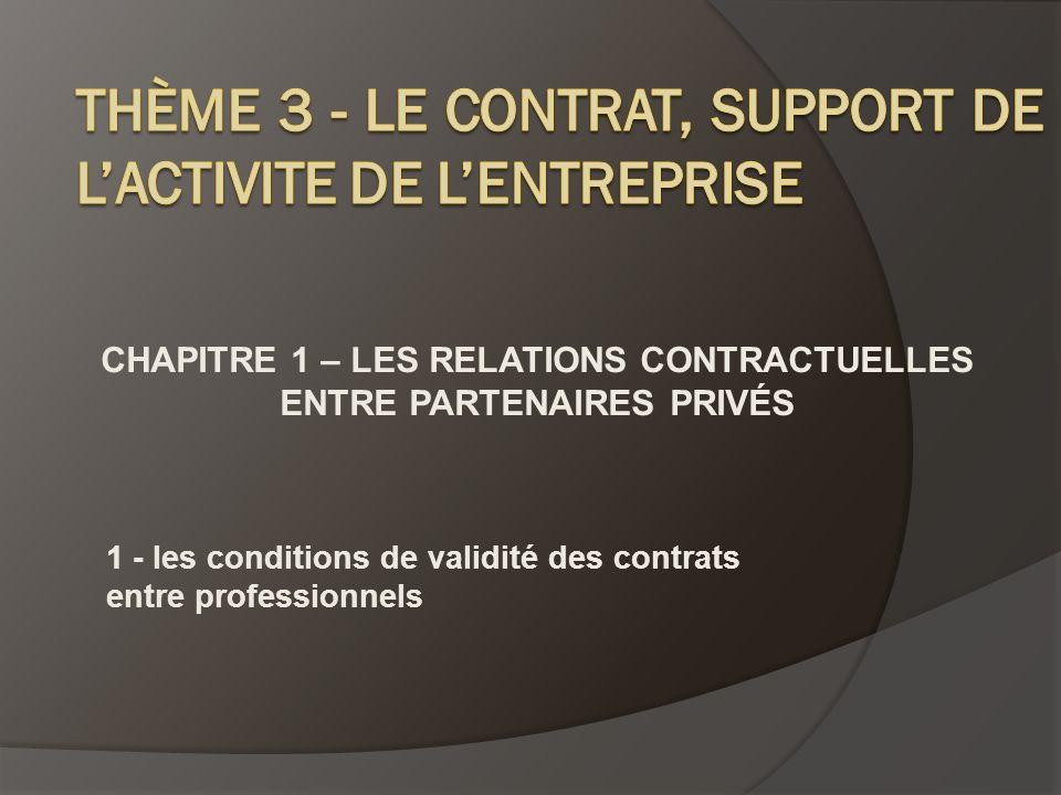 CHAPITRE 1 – LES RELATIONS CONTRACTUELLES ENTRE PARTENAIRES PRIVÉS 1 - les conditions de validité des contrats entre professionnels