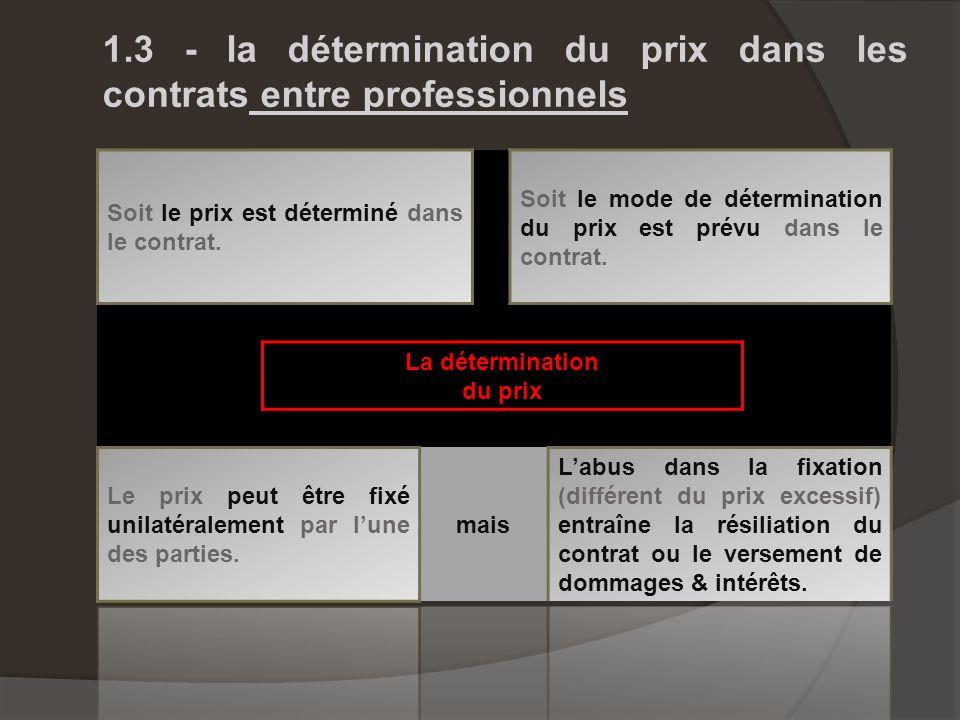 1.3 - la détermination du prix dans les contrats entre professionnels