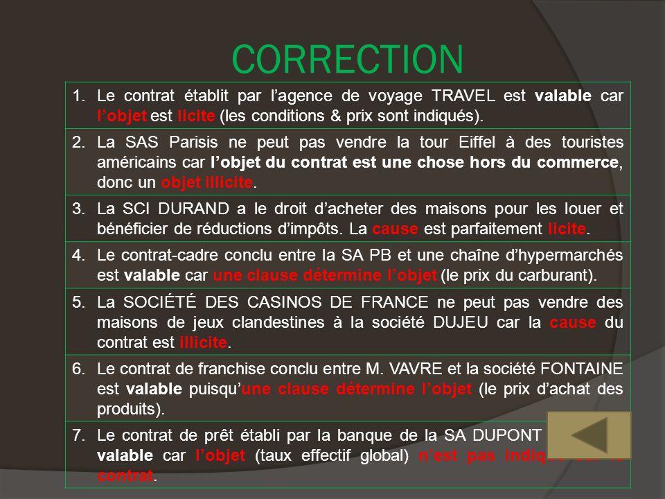 CORRECTION 1.Le contrat établit par lagence de voyage TRAVEL est valable car lobjet est licite (les conditions & prix sont indiqués).