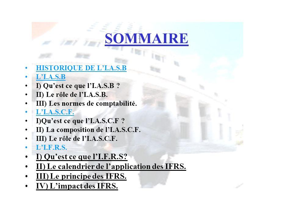 SOMMAIRE HISTORIQUE DE LI.A.S.B LI.A.S.B I) Quest ce que lI.A.S.B ? II) Le rôle de lI.A.S.B. III) Les normes de comptabilité. LI.A.S.C.F. I)Quest ce q