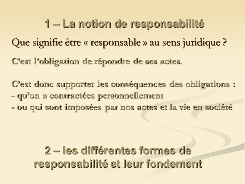 1 – La notion de responsabilité Que signifie être « responsable » au sens juridique ? Cest lobligation de répondre de ses actes. Cest donc supporter l