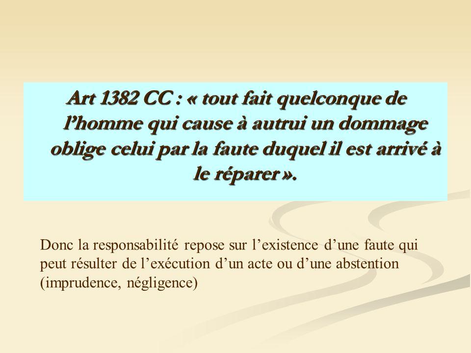 Art 1382 CC : « tout fait quelconque de lhomme qui cause à autrui un dommage oblige celui par la faute duquel il est arrivé à le réparer ». Donc la re